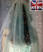 """Pale Ivory chapel 90"""" length wedding veil with Swarovski Crystals scattering. 1T"""