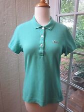 Authentic Lacoste Turquoise Blue Short Sleeve Polo Shirt Women 42 **Excellent**