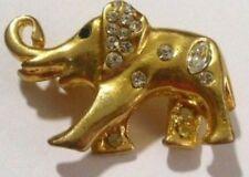 broche bijou rétro éléphant en relief couleur or brillant cristal diamant /R