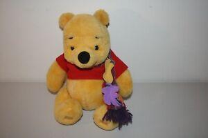 "Winnie The Pooh Plush Bear Wearing Fall Leaves Scarf 11"" Tall Stuffed Animal"