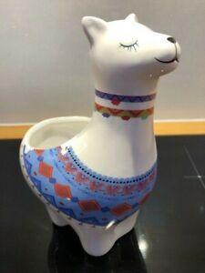 Cute Alpaca Llama Vicuna Ceramic Plant Pot Vase Planter Flowerpot Folk Art
