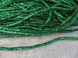 One metre x 5mm Bendable Glitter Rope Tube Ribbon Christmas Decs Crafts: GREEN