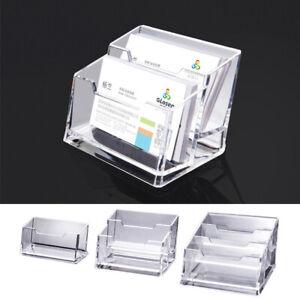 1pc Clear Acrylic Desktop Business Card Holder Display Plastic Desk Shelf