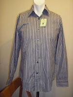 Attire Grey & White Stripe Long Sleeve Modern Fit Shirt - Size Small - BNWT!!