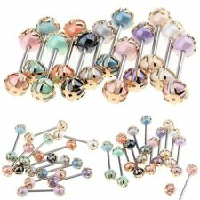 12pcs 16G Colorful Ball Tongue Nipple Bar Ring Barbell Body Jewelry Piercing Set