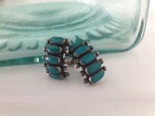 Vintage Zuni Native Indian Sterling Silver Turquoise  Screw-on Earrings NICE***