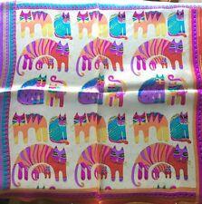 Designers Feline Print 100% Charmeuse Silk Scarf