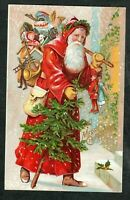 Old World Santa Claus~in Long Robe w.Tree & Toys~Antique Christmas Postcard-s547