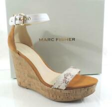 Marc Fisher Heart Platform Wedge Sandals Heels Leather White Multi Size 9.5