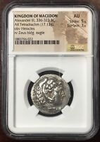Macedon- Alexander the Great Silver Tetradrachm NGC AU 5x3 Lifetime Issue