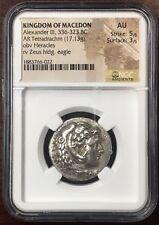 Kingdom of Macedon- Alexander the Great Silver Tetradrachm NGC AU 5x3