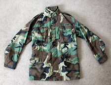 COLD WEATHER FIELD COAT Mens Small Long Military Woodland Camo Army Jacket 80's