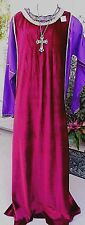 2 Pc L-XL Deep Red/Purple Medieval/Renais Regal Costume w/Lg Jeweled Cross