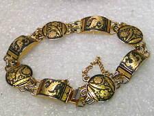"""Vintage Gold Tone Damascene Bracelet, Domed, Floral & Bird, Safety Lock, 7.25"""""""