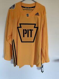 NHL Pittsburgh Penguins 2019 Stadium Series Practice Jersey Gold Keystone NWT 60