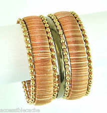 Chamak by Priya Kakkar Set of 7 Gold-tone Studs Bangle Bracelets w/ Brown Thread