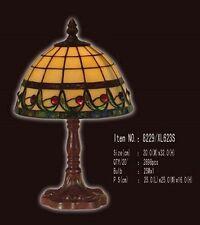 Tiffanylampe Tiffany Lampe Tischlampe beige, Bordüre grün, rot, neu,  T71S