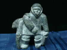 Inuit Eskimo Soapstone Hunter with Seals Carving