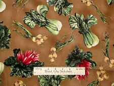 P&B Textiles Gardenscapes Lettuce Carrot Vegetable Food Brown Cotton Fabric 2 Pc