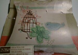 Dimensions 72-73569 Birdcage Pillow Cover Fabric Applique 14x14 Jillian Phillips