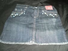 NWT Gymboree Girls MALIBU COWGIRL Denim Blue Jean Skirt  6 Adj Waist Flowers NEW