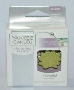 YANKEE CANDLE CHARMING SCENTS GREEN SUCCULENT CHARM METAL BANGLE CAR ACCESSORY