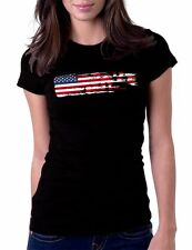 American Flag Grunge USA Black T-Shirt Womens Tshirt Tee