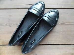 SIZE 8 (42) BLACK PATENT FLAT SHOES ~ NEXT NON LEATHER School shoes