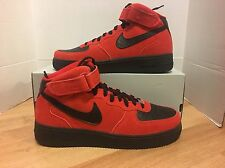 NIKE AIR FORCE 1 MID '07 RED/BLK SUEDE MEN'S SZ 10.5 NEW 315123-606 QS SP NO LID