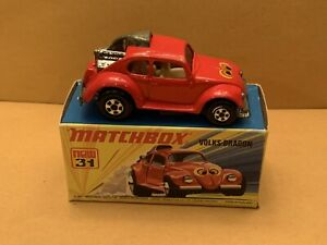 Vintage Matchbox Superfast No. 31 Volks-Dragon Smooth Roof Scoop With Box
