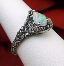 Tear Drop Rainbow Opal Sterling Silver Deco Filigree Ring {Made To Order} #186