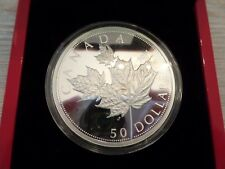2014 $50 Large Fine Silver High Relief Canada Canadian Maple Leaf Leaves Coin