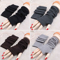 Lady Women Plain Stretchy Soft Striped Wrist Arm Long Fingerless Gloves Mittens