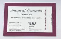 2021 President Biden/ Harris Invite Inauguration Swearing In Capitol Ticket Stub