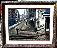 Paris Street Scene, L/A George Crionas, Large Oil on Canvas, Framed RARE