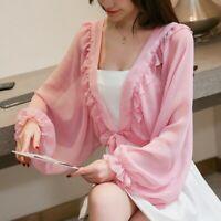 Women Shrug Bolero Ruffle Lolita Puff Sleeve Chiffon Capelet Cardigan Shawl Pink