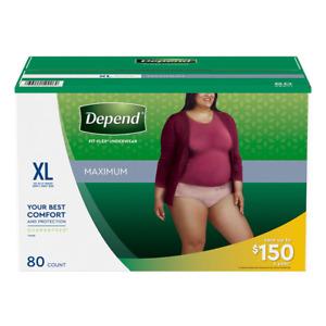 Depend Fit-Flex Disposable Underwear for Women, Fragrance Free - XL (80 count)