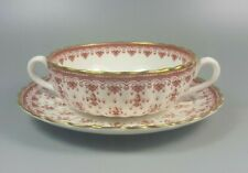 SPODE FLEUR DE LYS RED Y7481 CREAM SOUP COUPE / CUP AND SAUCER (PERFECT)