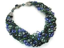 Sterling Silver Green Purple Pearl Glass Bead Woven Necklace 114.4g #5785
