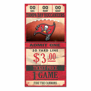 Tampa Bay Buccaneers Vecchio Game Biglietto Cartello 30 CM NFL Calcio Wood Sign