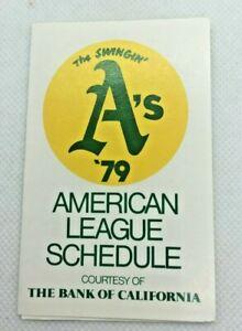 1979 Oakland A's Athletics Baseball Schedule Bank of California