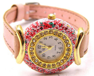 """RONICA 8 """" Watch Round White Face Clear Stones Pink & Green Specks Analog WORKS"""