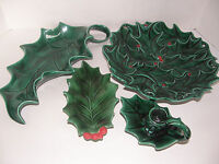 ATLANTIC MOLD SET OF 3 CERAMIC CHRISTMAS TRAYS AND 1 CANDLE HOLDER GREEN AND RED