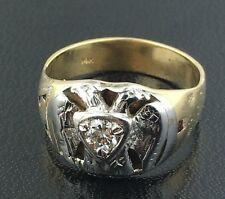 Men's antique 14k yellow & 14k white gold Masonic ring w/ diamond accent