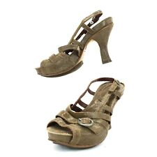 Neosens Brown Textured Strap Leather Sandals Womens 38 EU Heel Slingback Shoes