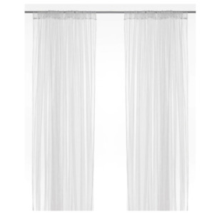 """2 Panels 110x98""""Lace Sheer Transparent Netting White Canopy Curtains IKEA LILL"""