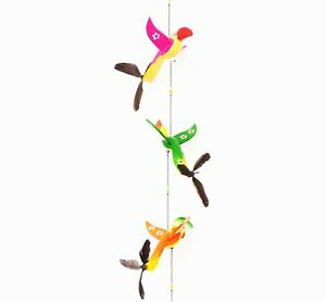 3 Wooden Carved Birds Painted Wall Hanging Mobile, Swirl tail birds Home Décor