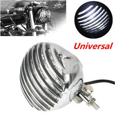 1x MOTORCYCLE FINNED GRILL LED HEADLIGHT FOR CAFE RACER BOBBER XS650 CB750 XL TR