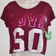 NEW Selena Burgundy DOL 99 Cropped Team Player Top Tee Shirt junior size XS