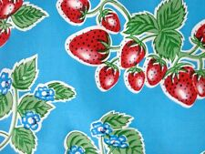 AQUA BLUE STRAWBERRY FOREVER RETRO KITCHEN PATIO OILCLOTH VINYL TABLECLOTH 48x48